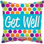 Get Well Soon Mylar Square Dots
