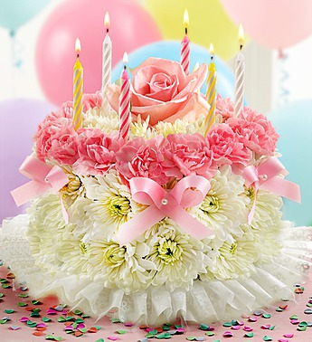 Birthday Day Flower Cake Pastel