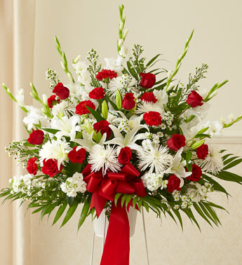 Heartfelt Sympathies Red & White Basket
