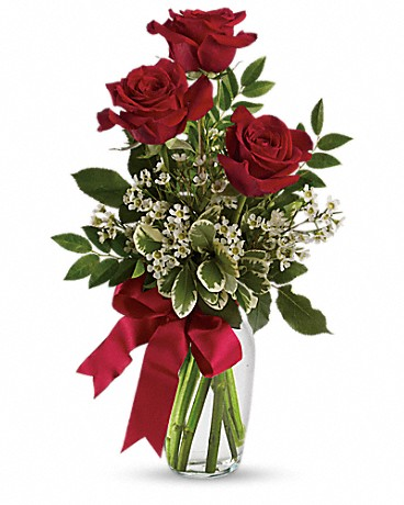 Thoughts of You Bouquet with 3 Red Roses