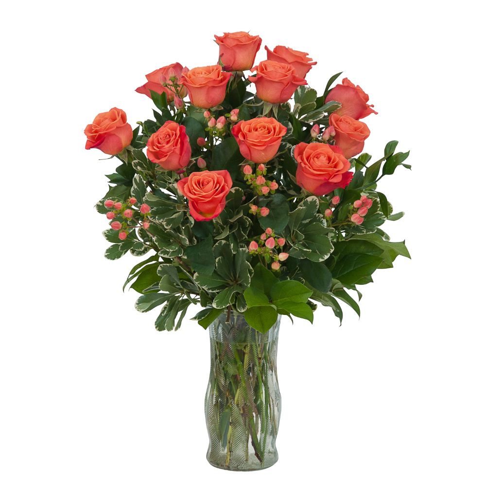 Rose Elegance Premium Long Stem Orange Roses